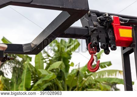 Hook Construction Crane With Slings. Hook Construction In Crane