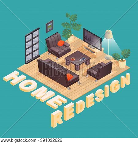 Home Redesign. Isometric. Fragment Of The Interior. Vector 3d Illustration.