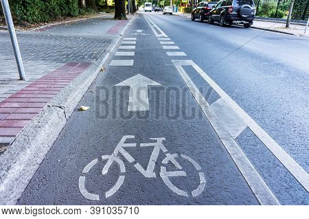 Bike Path To The Left Of The Roadway, Road Infrastructure In The City, Russia, Kaliningrad, Komsomol