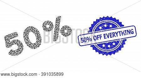 50 Percent Off Everything Scratched Stamp Seal And Vector Fractal Collage 50 Percents. Blue Stamp Se