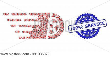 100 Percent Service Dirty Seal Print And Vector Recursive Mosaic Car Wheel. Blue Seal Has 100 Percen