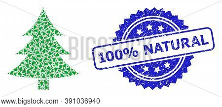 100 Percent Natural Scratched Stamp Seal And Vector Recursive Collage Fir-tree. Blue Stamp Seal Cont