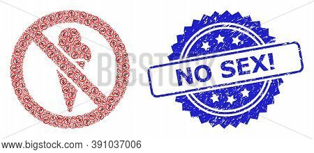 No Sex Exclamation Textured Stamp Seal And Vector Recursive Mosaic Forbidden Ice-cream. Blue Seal Ha