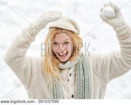 Snowball. Beautiful Young Woman In Winter. Season Of Winter. Portrait Of A Happy Woman In The Winter