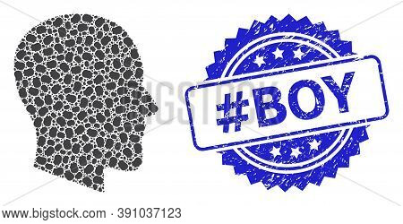 Hashtag Boy Textured Stamp And Vector Recursion Collage Gentleman Profile. Blue Stamp Seal Contains
