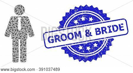 Groom And Bride Scratched Watermark And Vector Fractal Collage Groom. Blue Stamp Has Groom And Bride