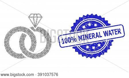100 Percent Mineral Water Textured Seal Imitation And Vector Recursive Collage Jewelry Wedding Rings
