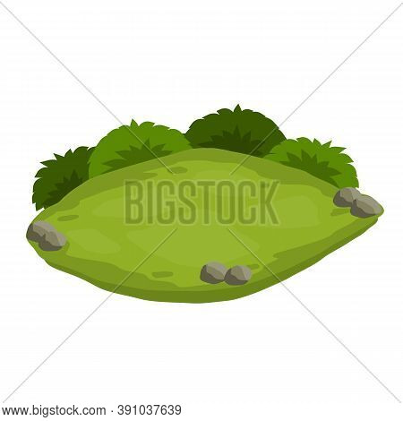 Landscape With Grass, Stones. Element Of Nature And Forests. Background For Illustration. Lawn, Swar