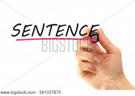 The Hand Writes The Word Sentence With A Marker On A White Background. Business Concept