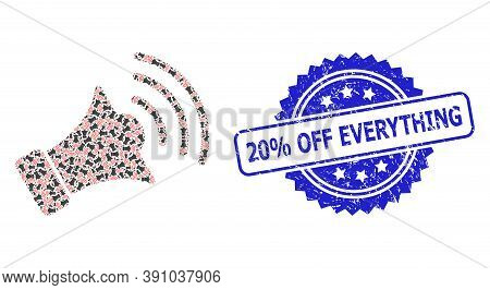 20 Percent Off Everything Textured Seal Imitation And Vector Recursive Collage Megaphone. Blue Seal
