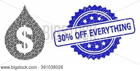 30 Percent Off Everything Textured Stamp And Vector Fractal Mosaic Oil Drop Price. Blue Stamp Seal I