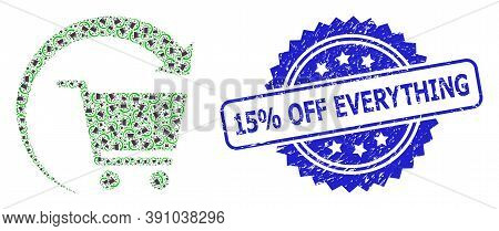15 Percent Off Everything Corroded Stamp Seal And Vector Recursive Collage Repeat Shopping Order. Bl