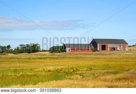 Ipswich, Usa - September 9, 2017: Old Barn On Choate Hog Island, The Largest Island In The Essex Riv