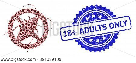 18 Plus Adults Only Grunge Seal Imitation And Vector Fractal Mosaic Stop Cockroach. Blue Stamp Seal