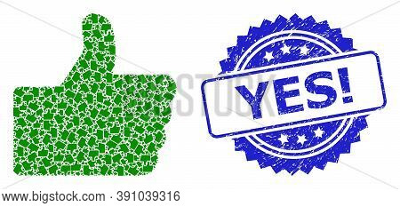 Yes Exclamation Corroded Seal Imitation And Vector Recursive Collage Thumb Up. Blue Stamp Seal Conta