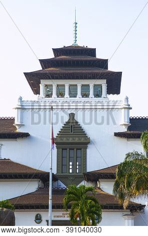 Bandung, West Java / Indonesia - 09/21/2019: The View Of Gedung Sate. Grand Dutch Colonial Administr