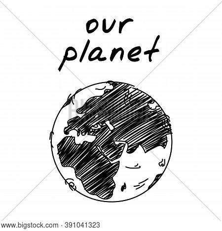 Earth Globe Handdrawn Icon. Cute Cartoon Vector Clip Art Of The Earth Sphere. Black And White Sketch