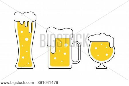 Different Beer Mugs, Pints, Tankards With Foam In Flat Style Isolated Vector Illustrations For Pub B