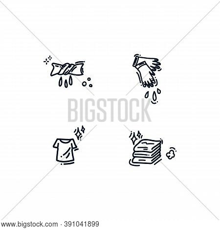 Collection Of Icons For The Laundry Service. The Set Includes Icons: Laundry And Clean Clothes, Fold