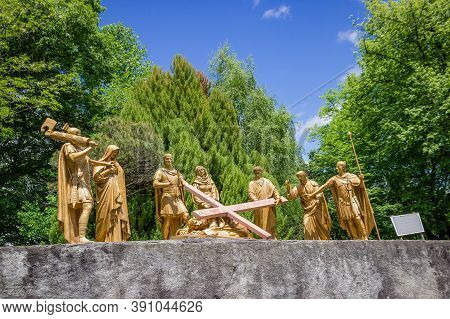 Lourdes, France. May 19, 2017. Sculptural Composition Of The Episode Jesus Falls. Fragment Of The Cr