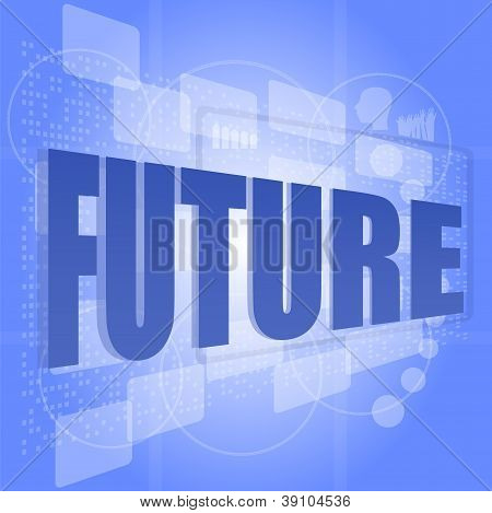 Words Future On Digital Screen, Life Social Concept