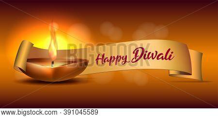 Congratulation Banner With Burning Diya And Yellow Ribbon