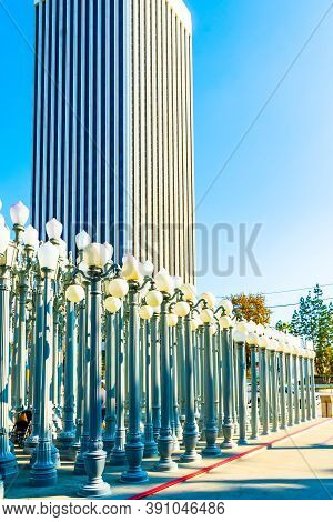 Los Angeles, California - October 16 2019: Vintage Street Lamps At Urban Light In Los Angeles, Calif