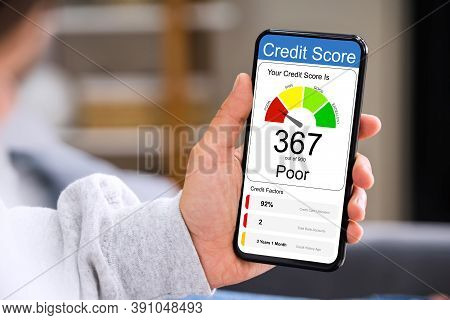 Poor Online Credit Score Rating On Smartphone