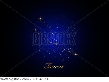 Taurus Zodiac Constellations Sign On Beautiful Starry Sky With Galaxy And Space Behind. Gold Taurus