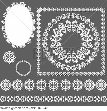 Openwork Background, Set Of Filigree Elements, Vector Illustration