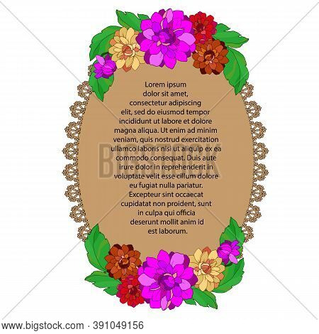 Openwork Background, Filigree Pattern Decorated With Flowers And Leaves