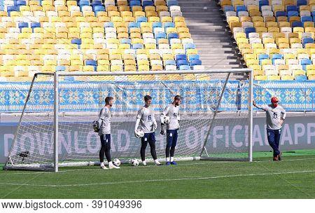 Kyiv, Ukraine - October 13, 2020: Goalkeepers Unai Simon, Kepa And David De Gea In Action During The