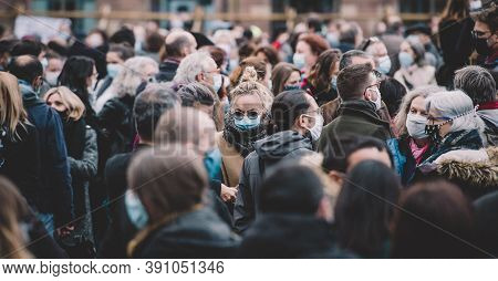 Strasbourg, France - Oct19, 2020: Thousands In The Place Kleber To Pay Tribute To History Teacher Sa