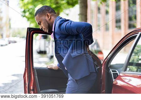 Car Driving Pain Back Injury. Bad Posture