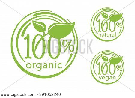 100 Percents Signs - Natural, Organic, Vegan Icons - Badge For Hundred Percent Healthy Food, Vegetar