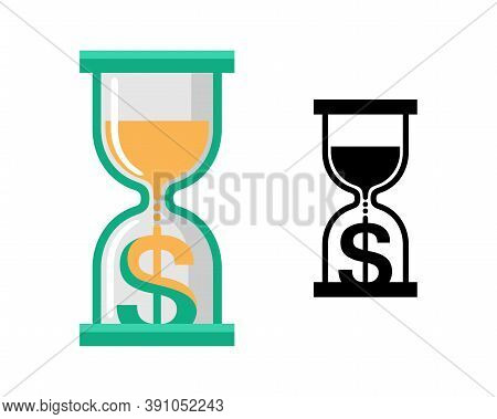 Installment, Credit And Mortgage Icon - Sandglass With Dollar Sign Instead Of Sand - Isolated Vector