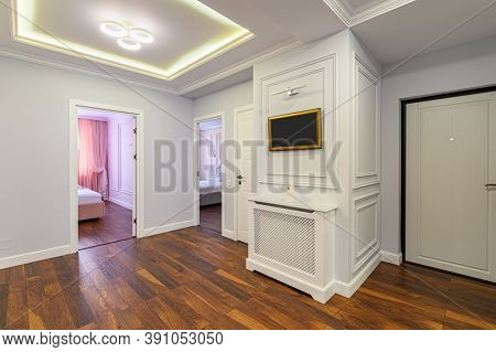 Spacious luxury hallway interior as a part of large studio apartment