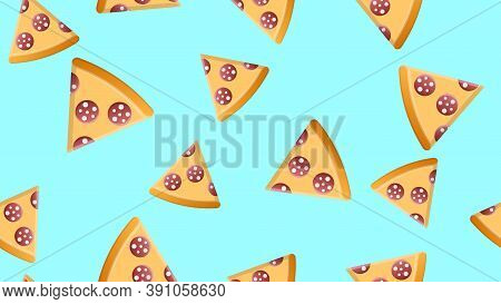 Slice Of Pizza On A Blue Background, Vector Illustration, Pattern. Harmful Fast Fast Food Snack. Dec