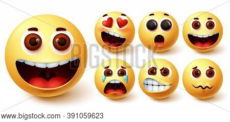 Emojis Vector Set. Emoji Cute Yellow Face With Happy, Crying, Angry, Surprise And In Love Facial Exp