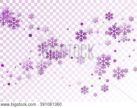 Crystal Snowflake And Circle Shapes Vector Graphics. Macro Winter Snow Confetti Scatter Card Backgro