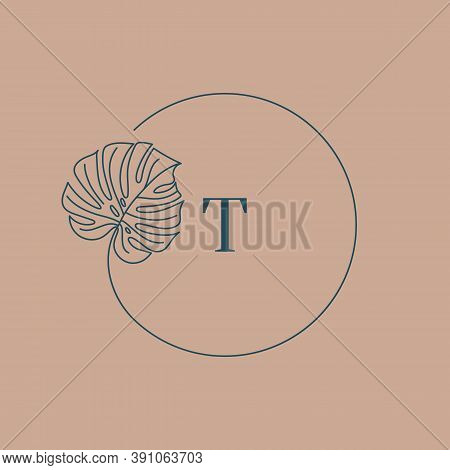 Monstera Leaf Monogram Design In Simple Minimal Linear Style. Vector Exotic Floral Wreath With Tropi