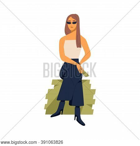 Young Stylish Millionaire Woman Sitting On Large Pile Of Money. Concept Of Richness And Wealth. Mode