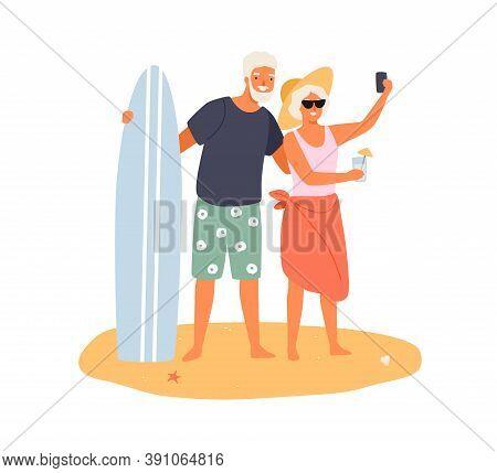 Elderly Couple Taking Selfie On Summer Beach. Cheerful Grandparents Having Summer Vacation Together.