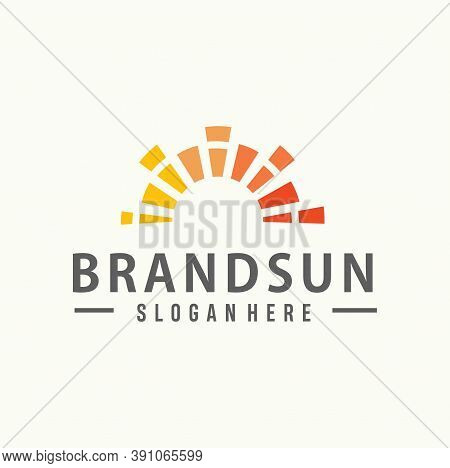 Abstract Sun Logo Business Design Template. Nature Sunset Logo Business Icon Sign Stock Vector. Sun