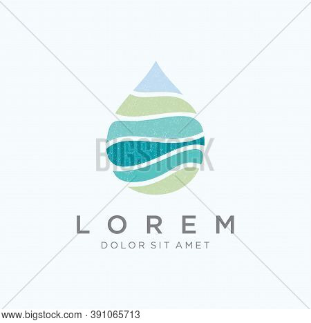 Abstract Water Drop Logo Design Graphic Colorful. Water Wave Logo Design Template Icon. Water Wave S