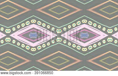 Colorful Tribal Ornament. Gray American Ethnic Wallpaper. Drawn By Pen Batik Border. Geometric Bohem