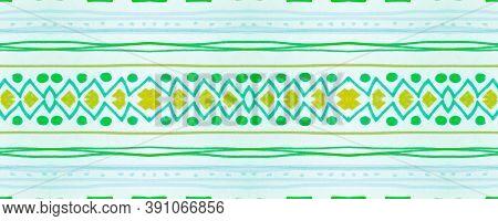Seamless Tribal Ornament. Green Mexican Ethnic Wallpaper. Drawn By Pen Shibori Motif. Geometric Trad