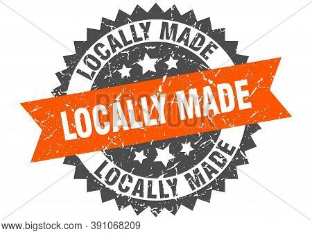 Locally Made Grunge Stamp With Orange Band. Locally Made