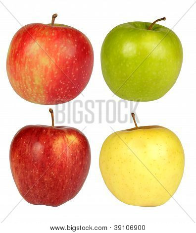 Four Apples On A White Backround