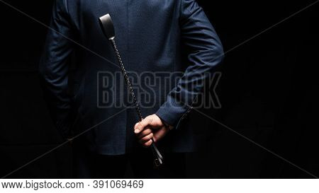 Male Dominant Holds A Leather Whip Flogger For Hard Bdsm Sex